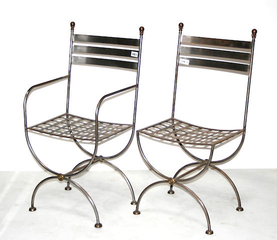 A set five Neoclassical polished steel garden chairs
