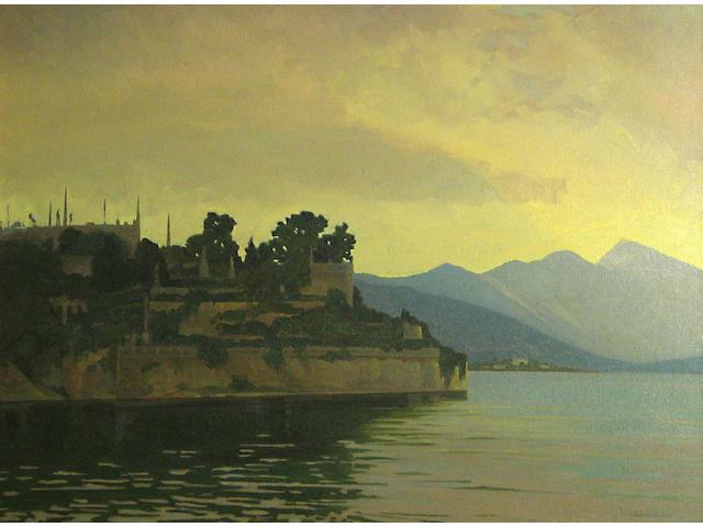 Gustave F. Liljestrom (Swedish/American, 1882-1958) A view of Isola Bella, Lago Maggiore, Italy 24 x 32 1/4in