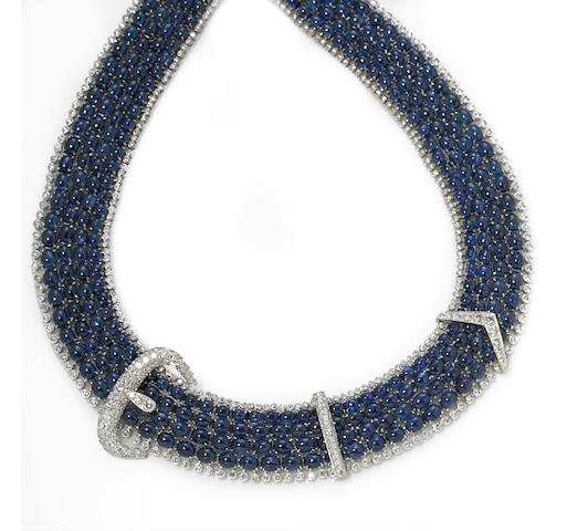 A sapphire and diamond buckle motif necklace