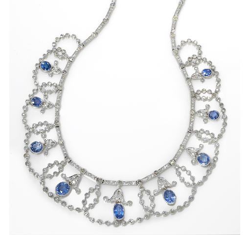 A diamond and sapphire necklace