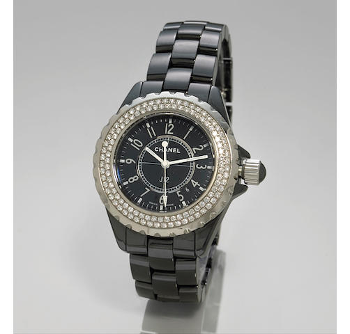 Chanel. A  J 12 lady's black ceramic and diamond bracelet watch.Ref: HO949,  no. 61309
