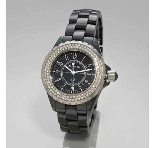 Chanel. A  J 12 lady's black ceramic and diamond bracelet watch.Ref: HO949,  no. 61309
