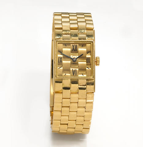 A gold bracelet watchNo. 10960 G  /  67186, the case with rubbed French maker's mark
