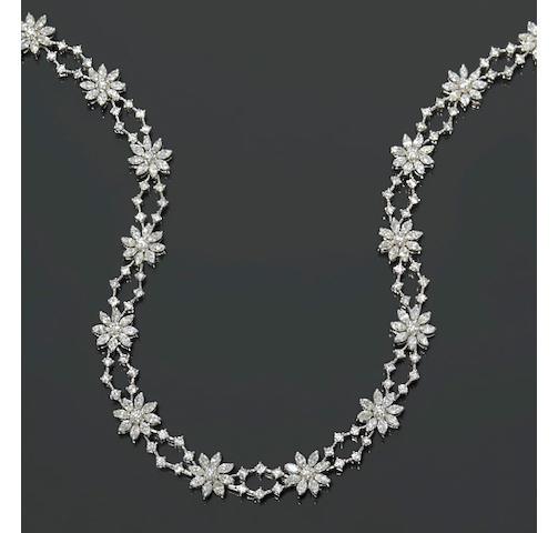 A diamond floral motif necklace
