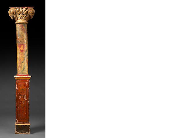 A group of three carved partial gilt faux marble and paint decorated ionic form columns and pedestals