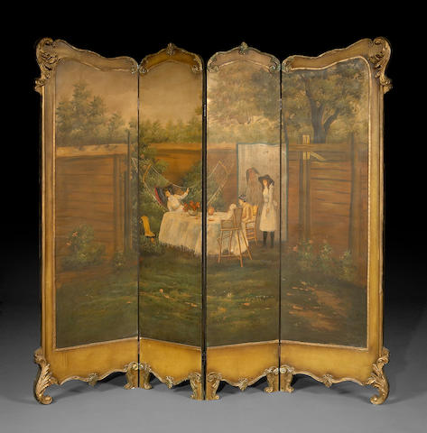 A Victorian style paint decoraated four panel  dressing screen
