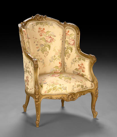 A Louis XV style upholstered bergère  late 19th century
