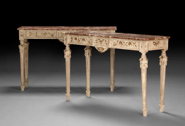 A pair of Louis XVI style painted and parcel gilt console tables  early 20th century