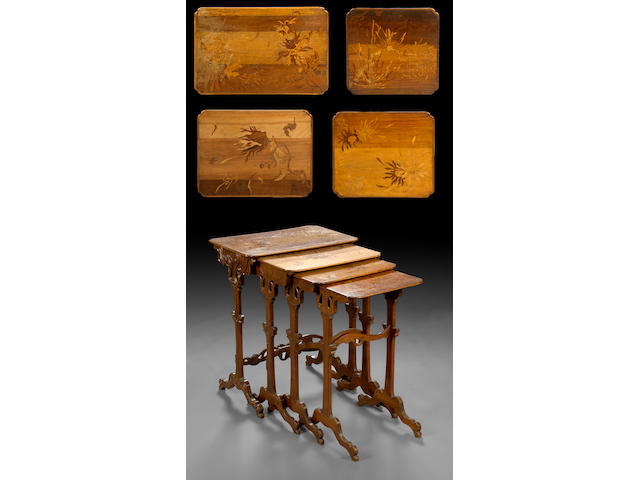 A nest of four French Art Nouveau marquetry tables  circa 1900