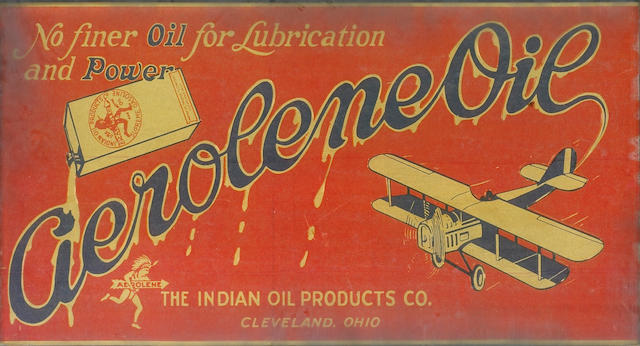A rare 'Aerolene Oil' glass advertising sign, American, circa 1915,