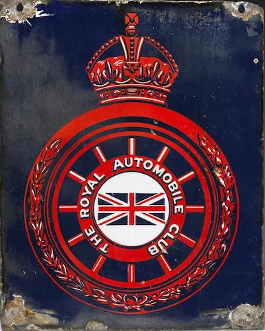 A Royal Automobile Club enamel sign, British, circa 1910,