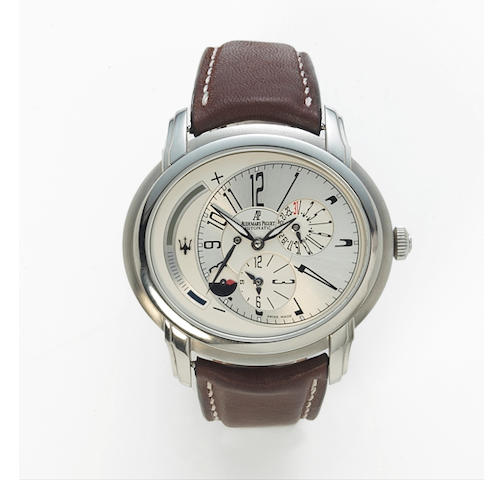 Audemars Piguet. A fine limited edition stainless steel automatic dual time zone wristwatch with power reserve, day / night indication and date.Millenary Maserati Dual Time, ref. 26150, movement no. 609244, case no. F43287, made in 2004.