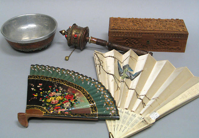 A group of Chinese miscelianeous decorations: boxes and brass and metal decorations