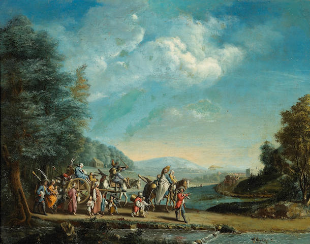 After Jacques Callot The march of the Bohemians 15 x 19in (38.1 x 48.3cm)