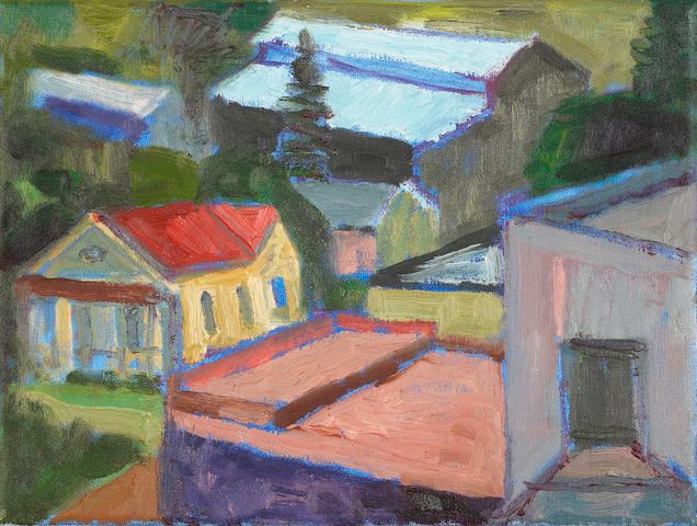 Lundy Siegriest (American, 1925-1985) Untitled (Houses), c. 1980-82 9 x 12in