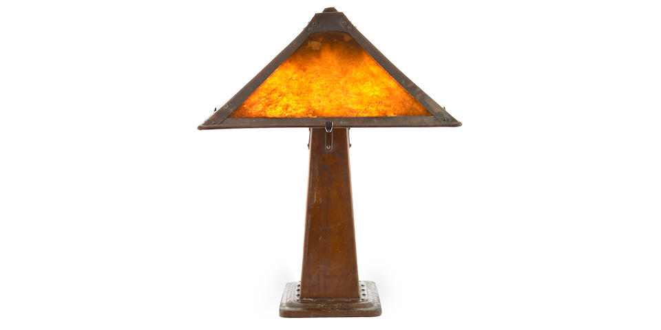 A Dirk Van Erp hammered copper and mica lamp
