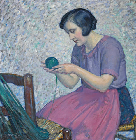 Myron Barlow (American, 1873-1937) Winding yarn 29 x 29in