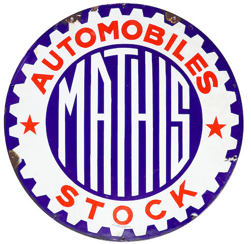 A Mathis Automobile Stock enamel sign, French,