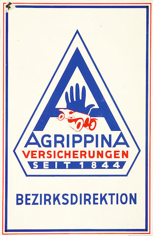 An Aggrippina enamel sign,