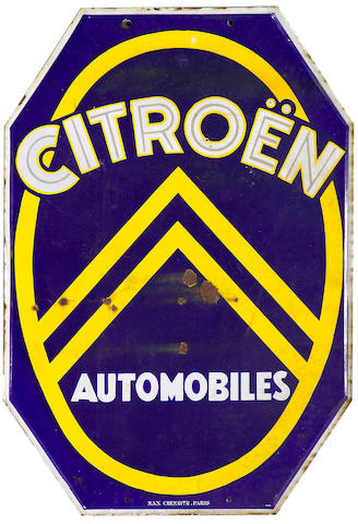 A 'Citroen Automobiles' enamel sign, French, 1930s,