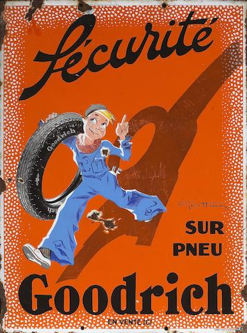 A rare Goodrich Tires 'Sécurité' enamel sign with artwork by Geo Ham (1900-1972), French, 1930s,