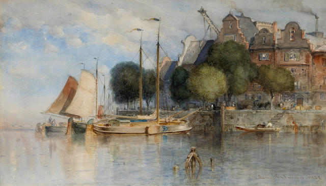 Samuel Colman (American, 1832-1920) Boats along the quay, 1883 sight: 9 3/4 x 17in