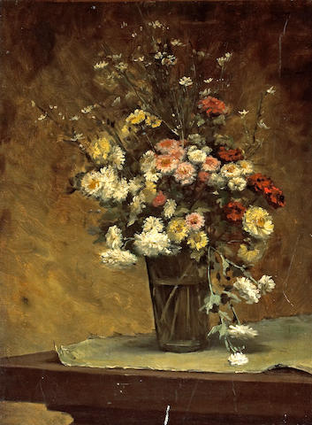 French School, 19th Century A still life with marguerites and other flowers in a glass vase 21 x 15 3/4in (53.3 x 40cm)