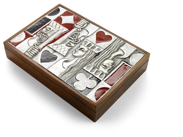 An Ottaviani enameled silver and rosewood card/games box