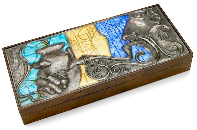 An Ottaviani enameled silver and rosewood pipe box