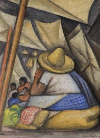Diego Rivera (Mexican, 1886-1957) En el mercado, 1934 15 x 10 1/2in (38 x 26.7cm)