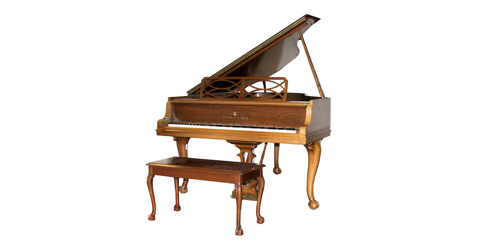 A Steinway walnut art case piano