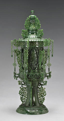 A large 'spinach' jade tiered censer 20th Century
