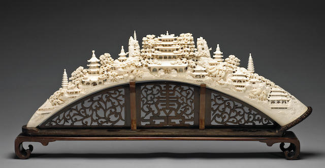 A large pieced ivory landscape bridge 20th Century