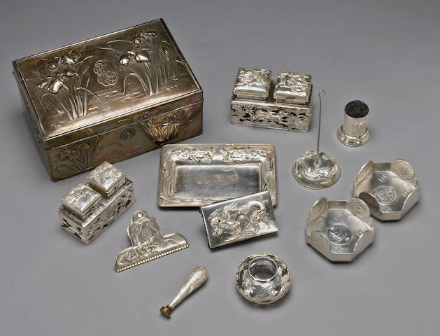 A group of export silver desk accessories Meiji/Taisho Period