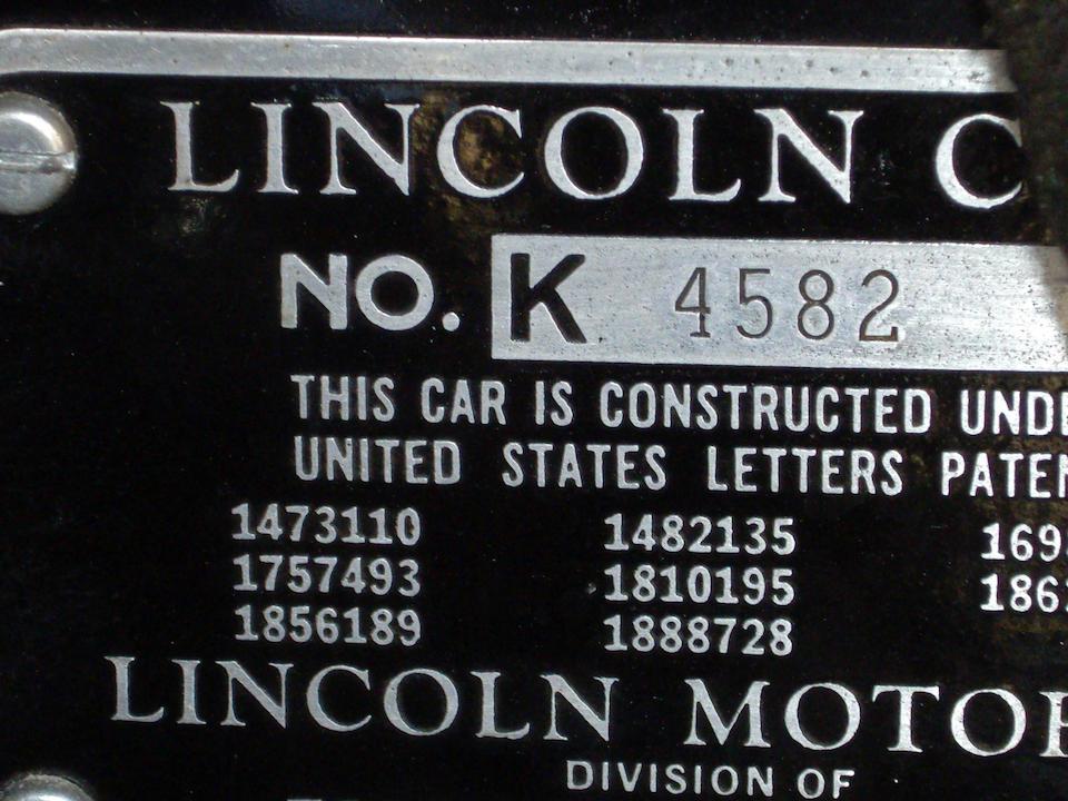 The Franklin Delano Roosevelt California Campaign Parade Car,1935 Lincoln Model K V-12 Phaeton  Chassis no. K4582 Engine no. K4136