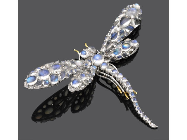 A moonstone and diamond dragonfly brooch-pendant