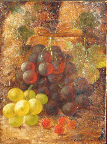 Oliver Clare (British, 1853-1927) A still life with grapes and raspberries 8 x 6in
