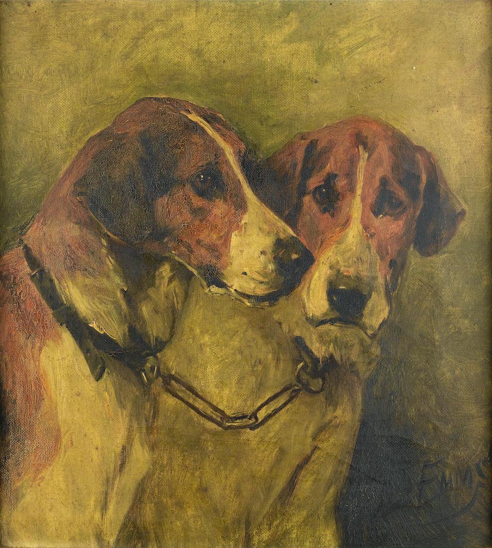 John Emms (British, 1843-1912) Two Foxhounds