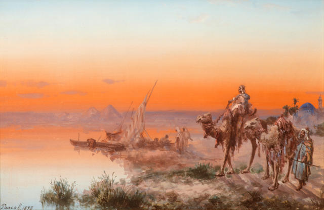 Paul Pascal (French, 1832-1903) A Middle Eastern scene with riders meeting a boat on a river bank 11 3/4 x 17in