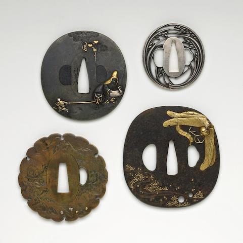 Four Tsuba: Junoji with scroll, ittabori brass, small aikuchi tanto