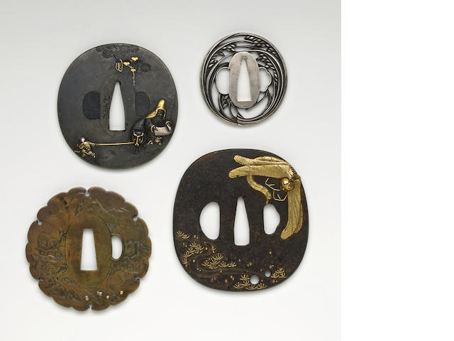 Four Tsuba: Junoji with scroll, ittabori brass, small aikuchi tanto