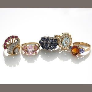 A collection of five diamond, gem-set, 18k, 14k, 10k gold and white gold rings
