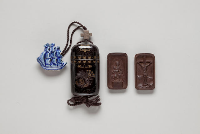 Single-case Nanban-style lacquer inro with a hidden Christian shrine 18th century