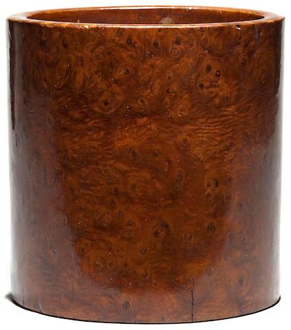 A fine huamu brush pot, Bitong 18th Century
