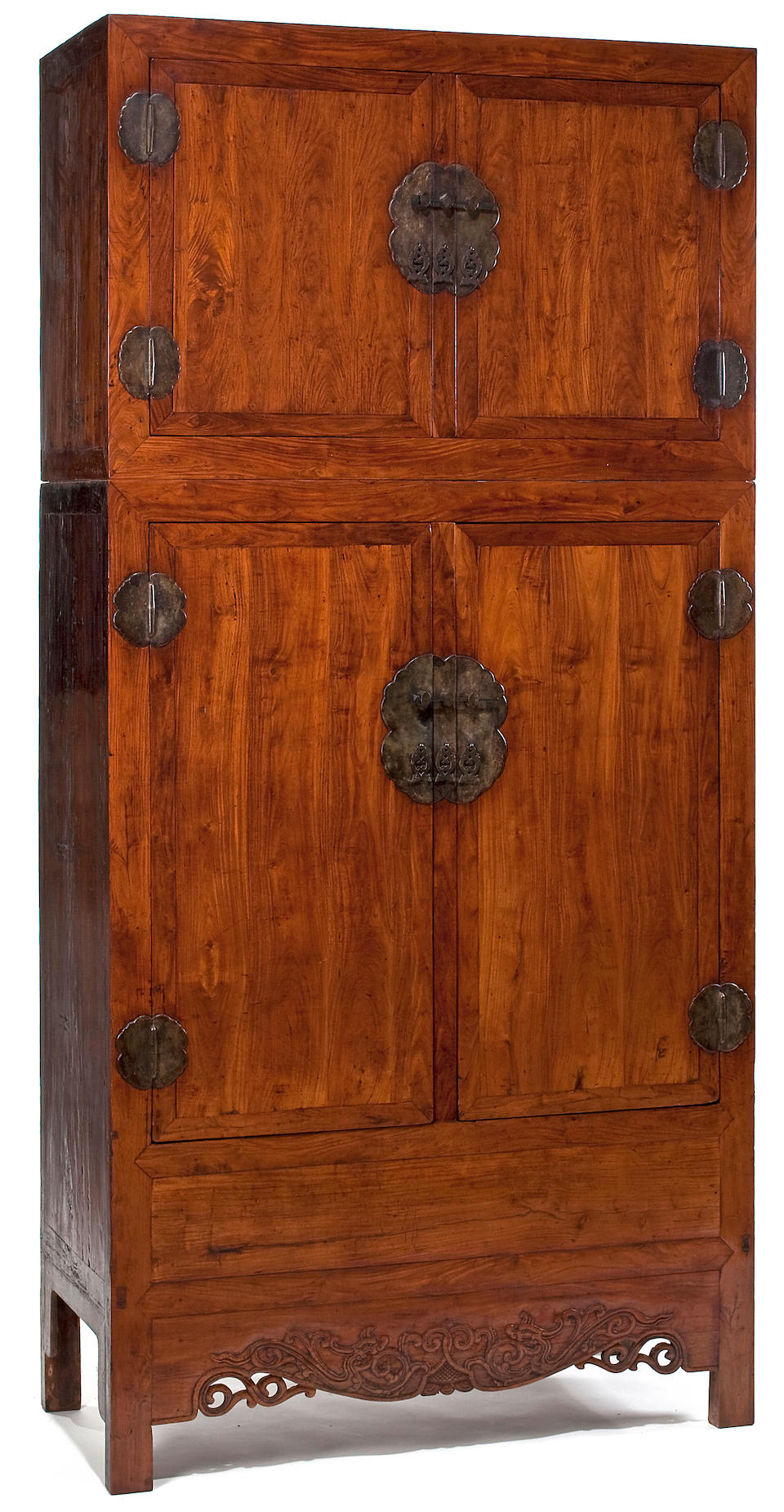 A pair of massive huanghuali veneer compound cupboards, Sijiangui 18th Century