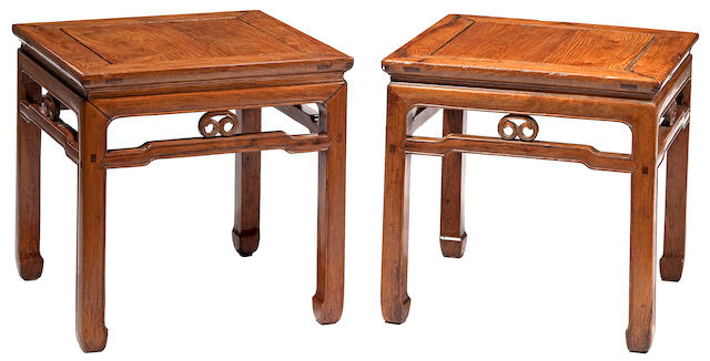 A pair of huanghuali square stools, Fangdeng 18th/19th Century