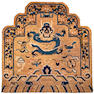 Throne-back rug with dragon, Buddhist symbols and floral border. Zee Stone