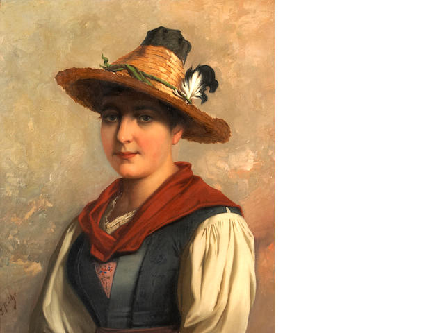 Josef Buche (Austrian, 1848-1918) A portrait of a Tyrolean woman 23 7/8 x 20 1/8in