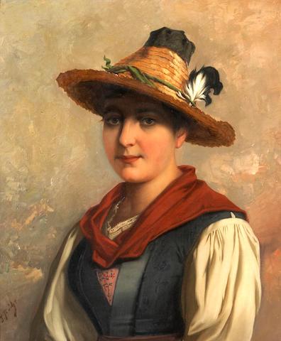 Josef Buche (Austrian, 1848-1918) A portrait of a Tyrolean woman 23 7/8 x 20 1/8in