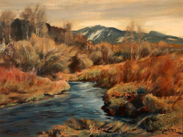 Paul Lauritz (Norwegian/American, 1889-1975) Sierra Mountain Stream 18 x 24in